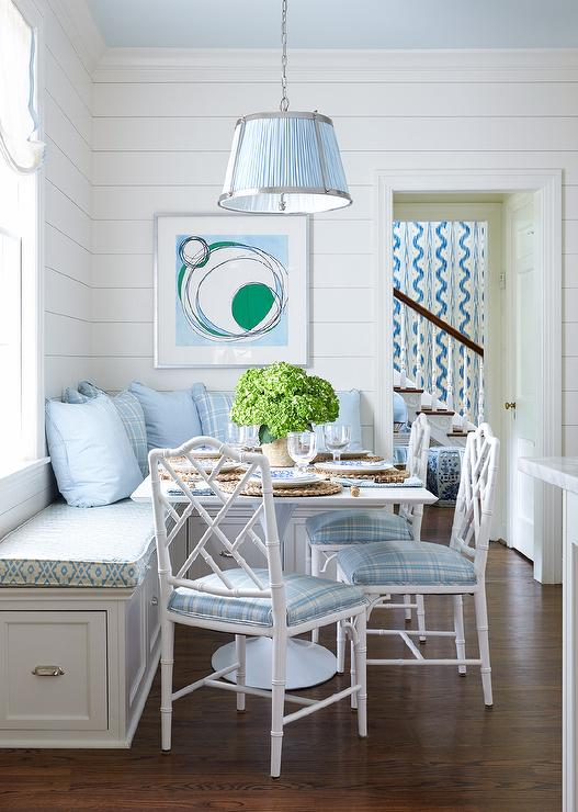 Blue And White Breakfast Room Features A Vaughn Nickel Hanging Shade Pendant Hung From Ceiling Over Square Dining Table Seating Three