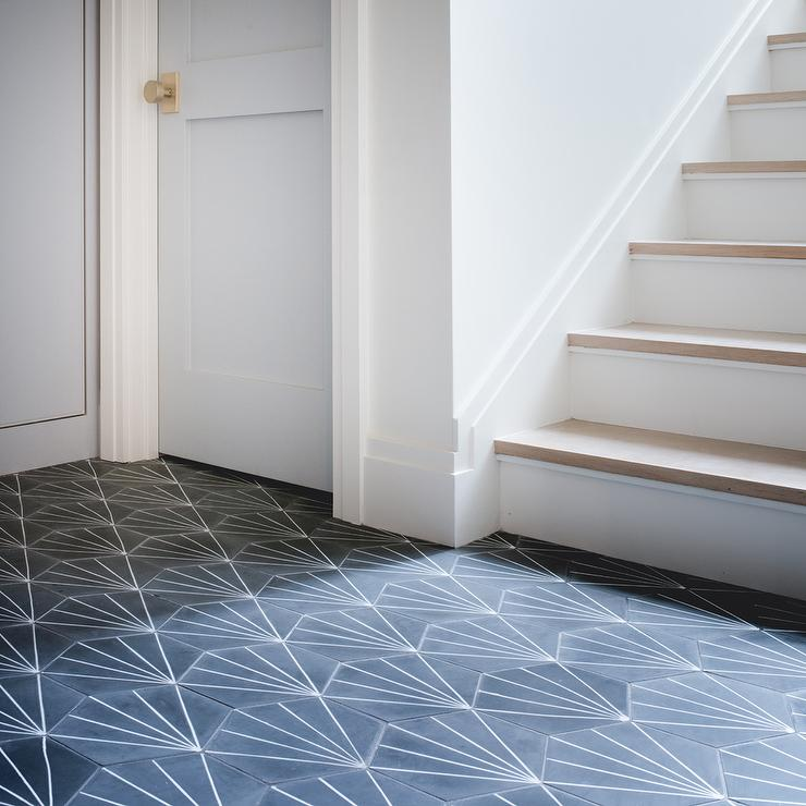 White And Black Cement Starburst Tiles Design Ideas