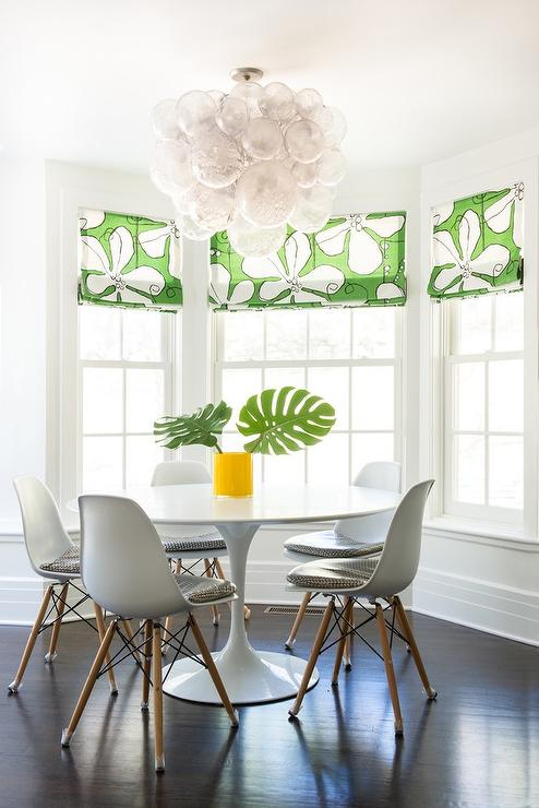 Dining Room Bay Window with Glass Bubbles Chandelier