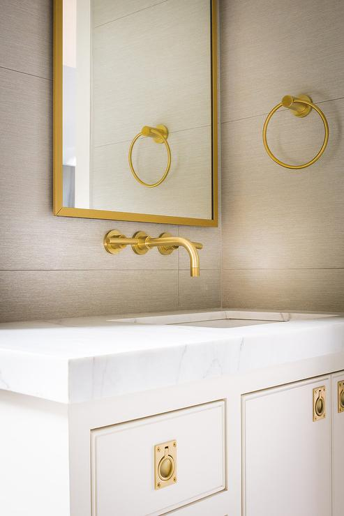 White Bathroom Tiles With Gold Glass Border Tiles