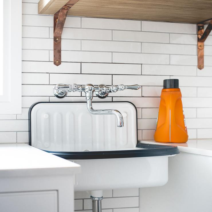 Black And White Industrial Laundry Room Sink
