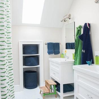 Green and Blue Kid bathroom with Blue Zebra Bath Mat & Teak Bathroom Step Stool Design Ideas islam-shia.org