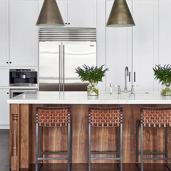 Bon Long Oak Kitchen Island With Dark Nickel Light Pendants