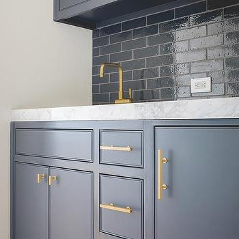 Dark Blue Butler Pantry Cabinets With Brushed Brass Pulls