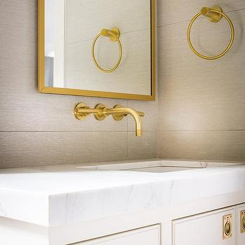 White And Gold Bathroom With Brass Inset Vanity Hardware