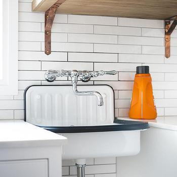 Wood Laundry Room Shelf With Copper Brackets Design Ideas