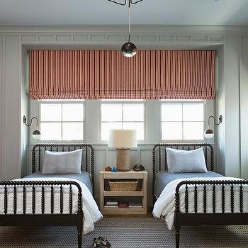 Black Jenny Lind Twin Bed Blue White Linen