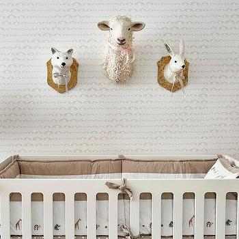 Boy Nursery With Faux Bois Wallpaper And Babyletto Spruce