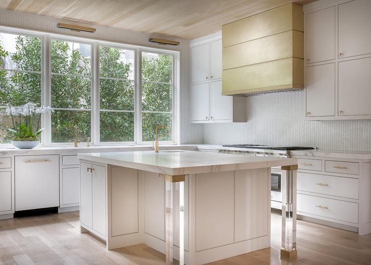 White Marble Waterfall Kitchen Island With Lucite