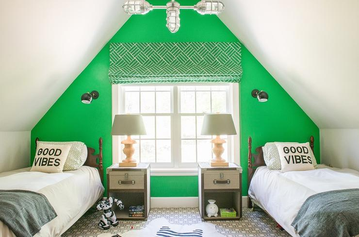 Kids Bedroom Accent Wall shared boys room with green accent wall - transitional - bedroom