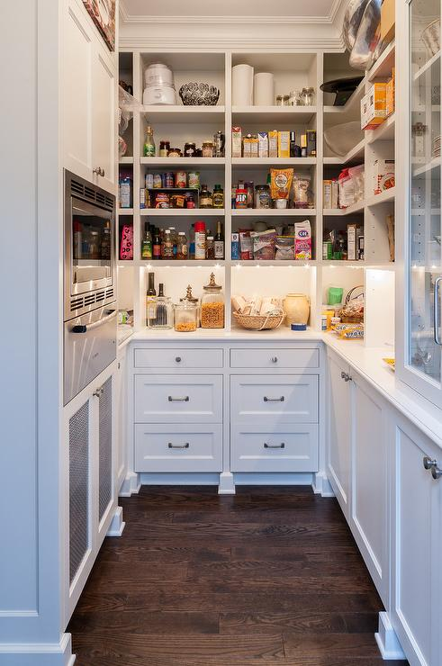 U Shaped Kitchen Pantry With Microwave Nook Transitional