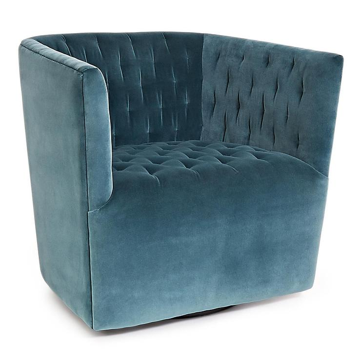 Blue Swivel Upholstered Chair