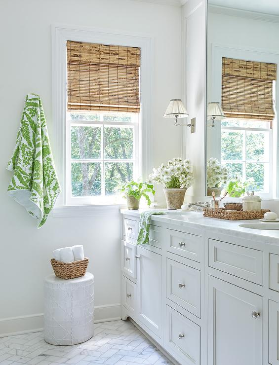 White And Green Bathroom With Green Wavy Tiles Transitional Bathroom