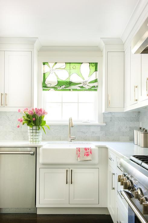 White Kitchen With Green Floral Roman Shade Transitional