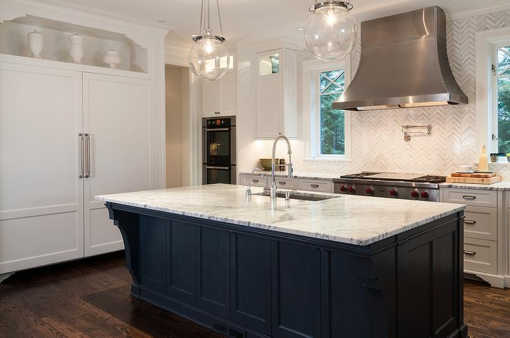 White Kitchen with Dark Blue Island Transitional Kitchen