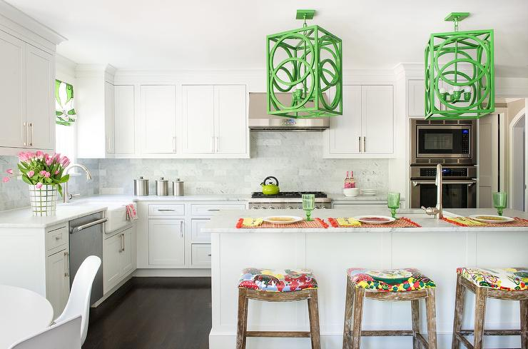 white kitchen with green accents - transitional - kitchen