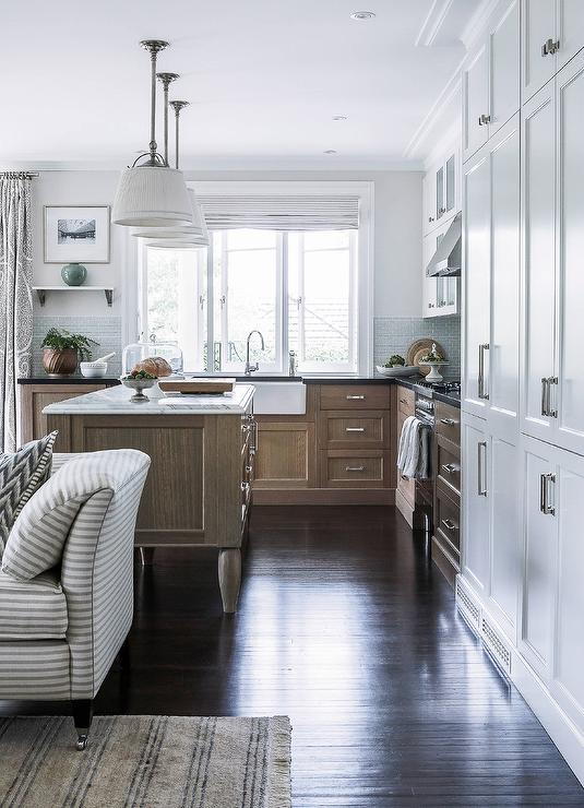 Captivating Feel At Home In This Gorgeous Kitchen Featuring A Wire Brushed Oak Footed  Island Topped With A White Marble Countertop Lit By Three Sloane Single  Shop ...