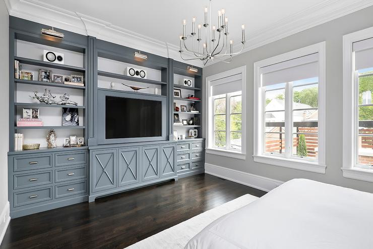 Gunmetal Gray Bedroom Built Ins with Polished Nickel Picture Lights ...