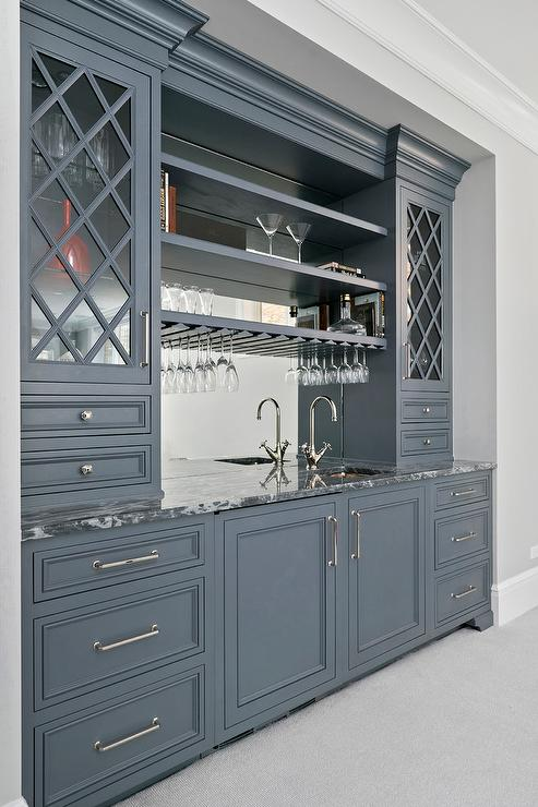 Gray wet bar cabinets with gold pulls transitional for Benjamin moore slate grey