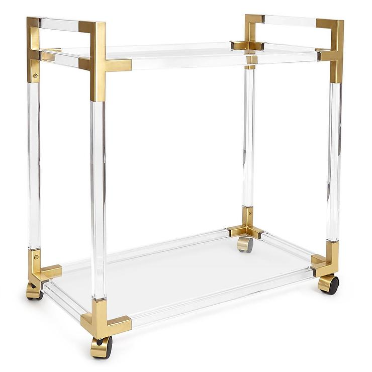 Brass Oscarine Lucite Bar Cart