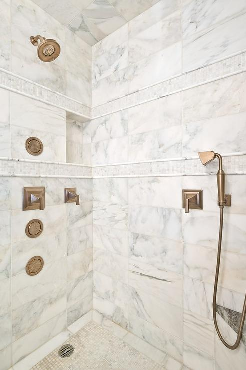White Marble Shower Tiles With Gray Mosaic Border Accent
