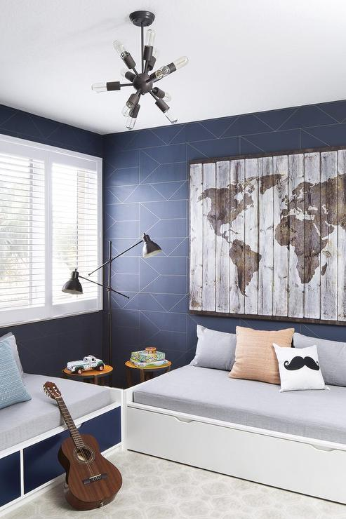 Boy Bedroom Storage: Blue And Gray Boy Bedroom With Modern Daybeds With Drawers