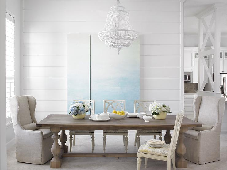 gray dining table with white dining chairs - transitional - dining