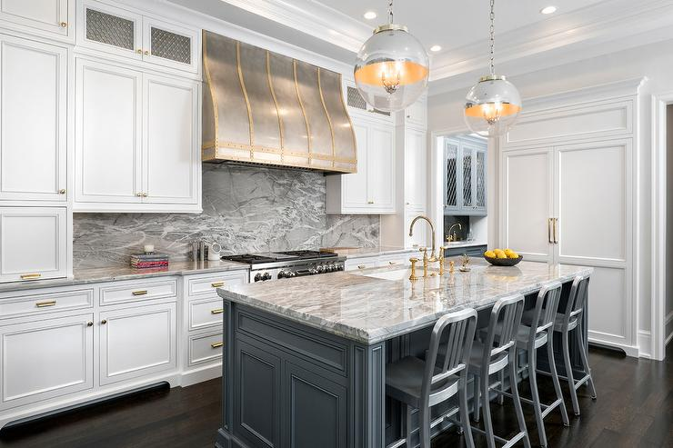 Dark Gray Kitchen Cabinets With Brass Pulls Transitional