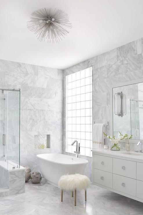 Gray Marble Master Bathroom With Lucite Sputnik Flush Mount Light Transitional Bathroom