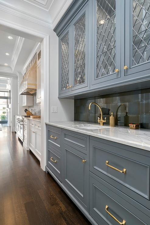 Gray Wet Bar Cabinets With Gold Pulls Transitional