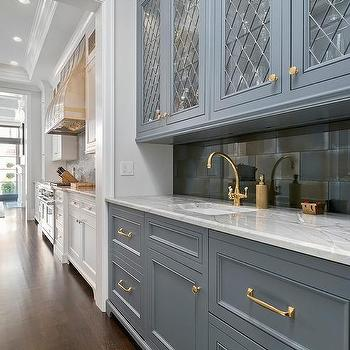 Gray Wet Bar Cabinets With Black And Gold Pulls