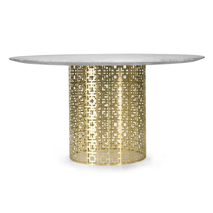 Exceptional Brass Geometric Pedestal Marble Dining Table