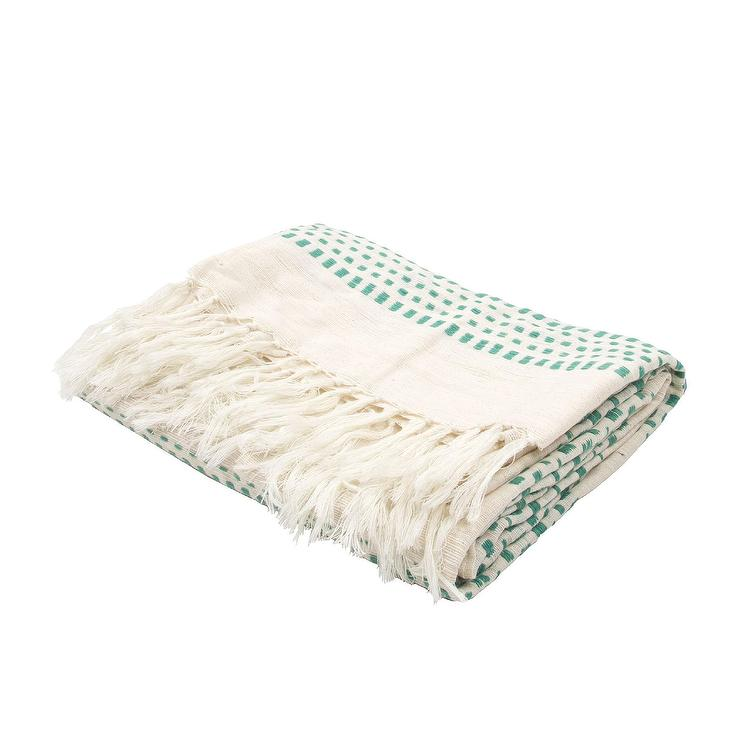 Green and White Dot Throw