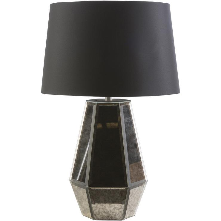 Black Glass Panels Table Lamp View Full Size