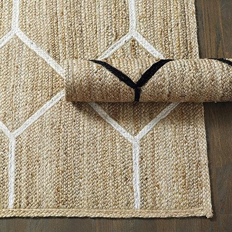 Geometric Lattice Tan Jute Rug