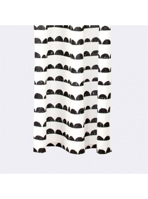 Half Moon Black And White Shower Curtain