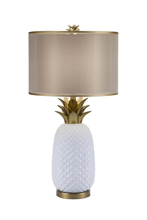 White pineapple gold accents table lamp aloadofball Choice Image