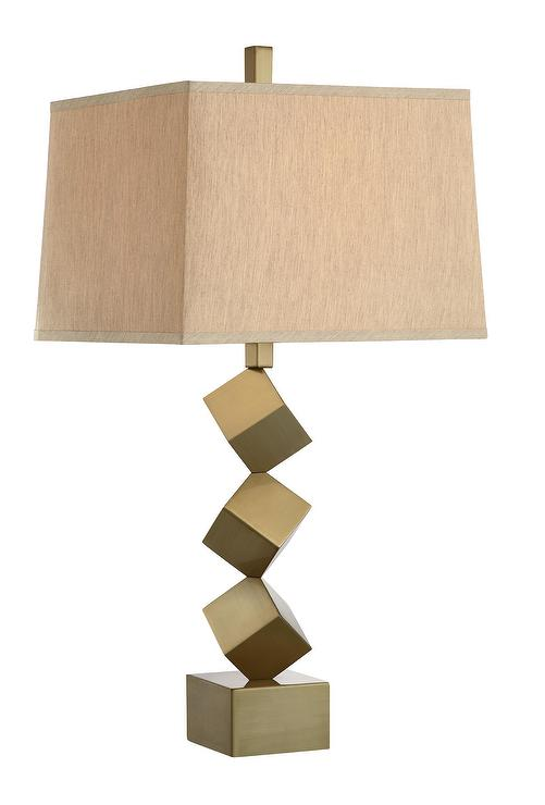 Brass Stacked Cube Table Lamp