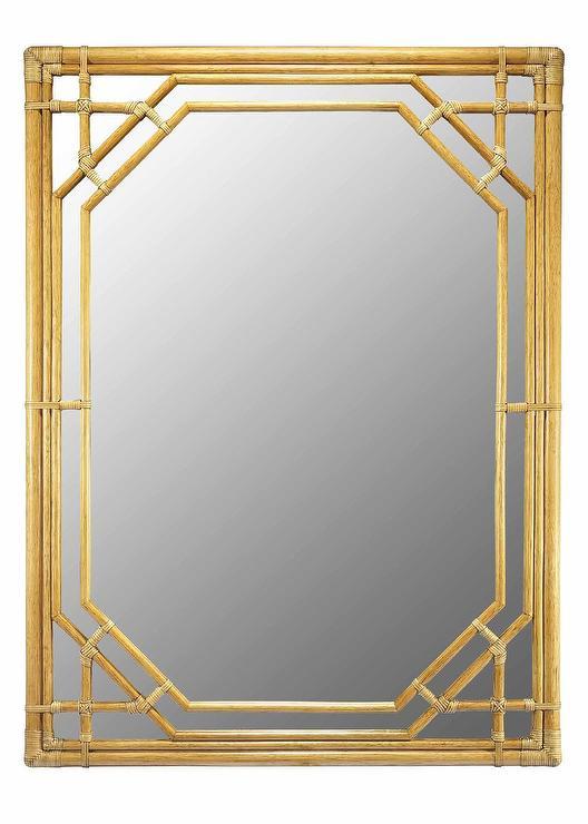 Rattan Woven Round Geometric Mirrors