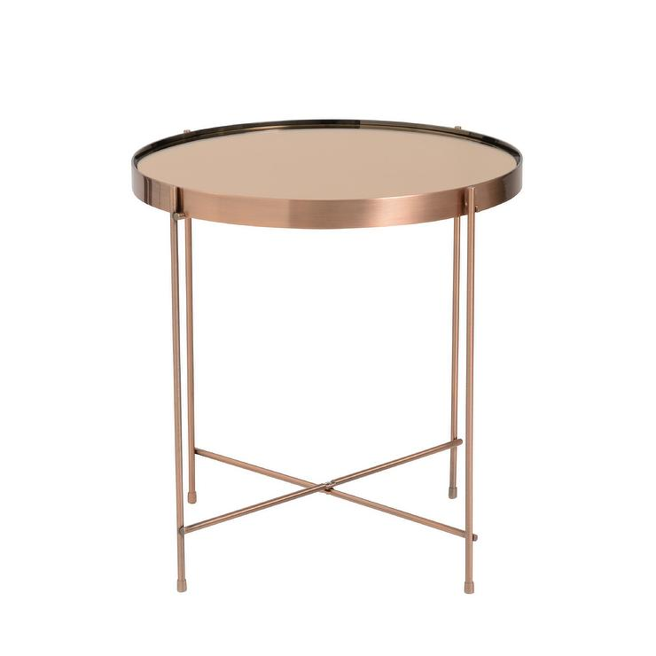 Copper Round Thin Base Side Table