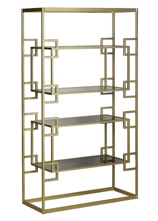 Brass Greek Key Black Glass Bookcase