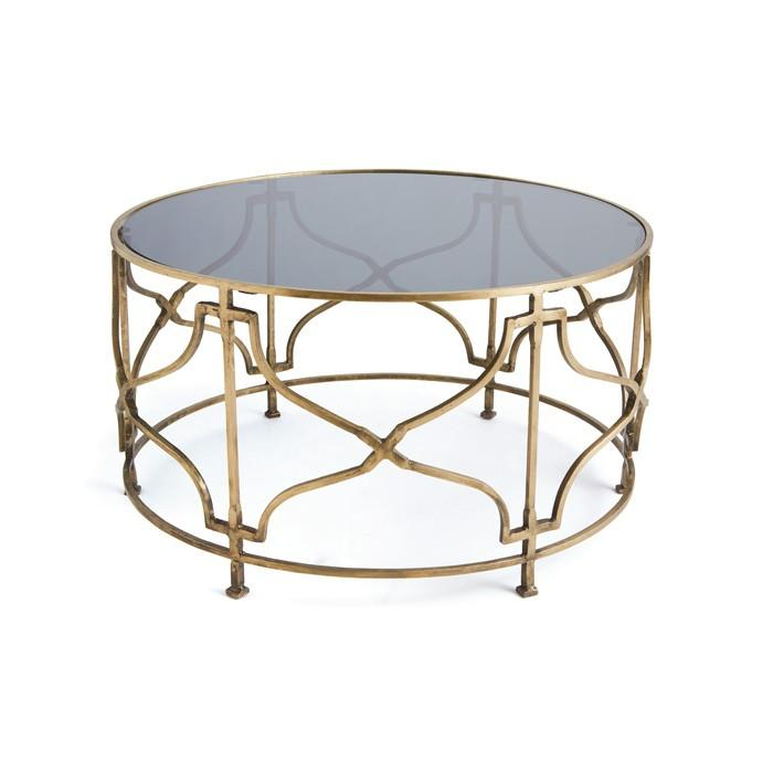 Gold Open Geometric Base Coffee Table