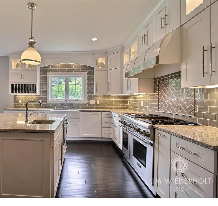 Gray and white kitchen design with shaker