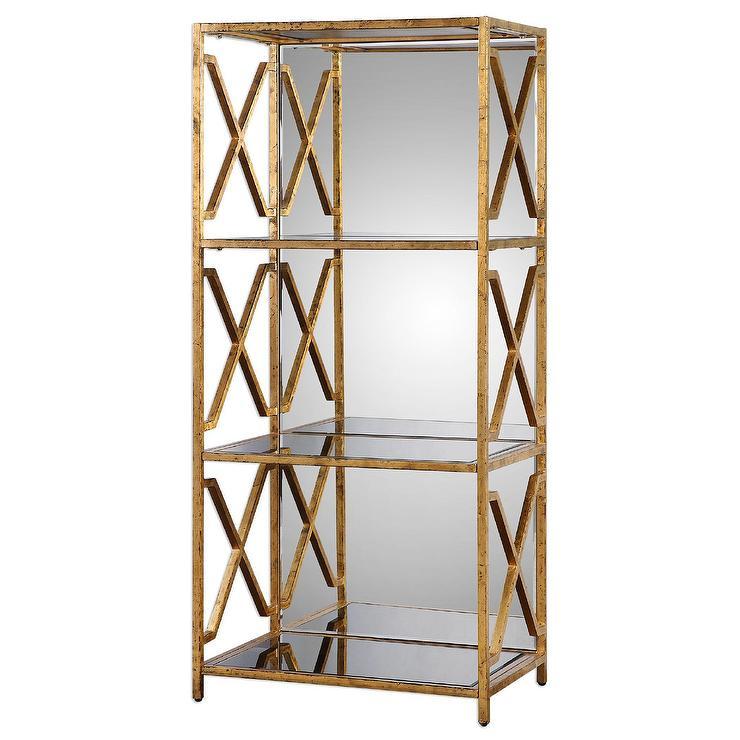 gold mirrored back bookshelf - Gold Bookshelves