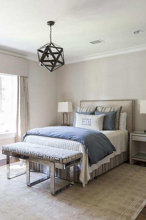 Tan and Blue Boy Bedroom with Chrome Bench - Transitional ...