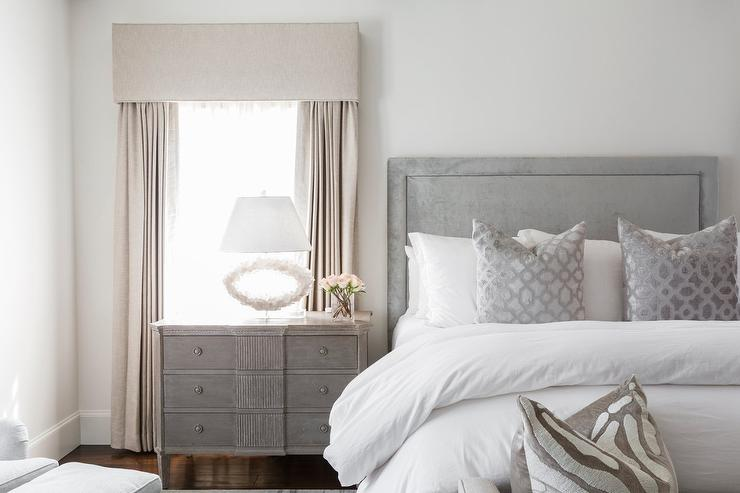 Gray Chest As Nightstand With White Oval Lamp