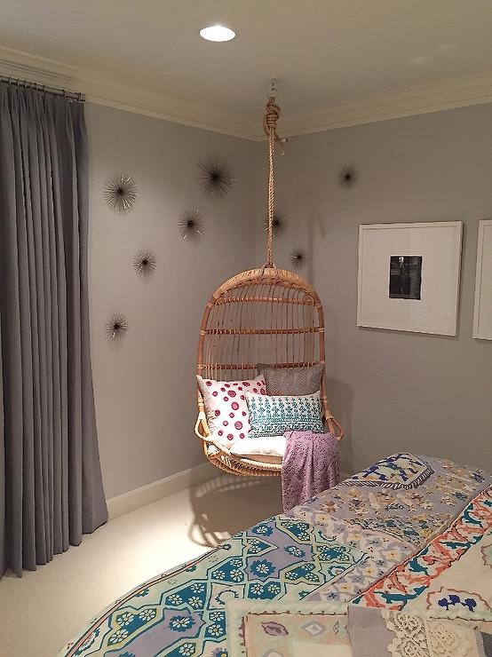 Girl Room with Corner Hanging Rattan Chair - Transitional ...