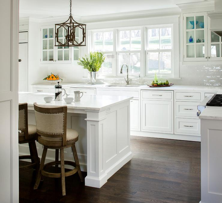 White Glazed Brick Kitchen Backsplash Tiles Transitional Kitchen