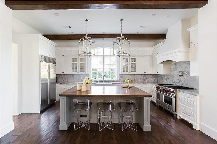 Wood Top Island with Lucite Counter Stools - Transitional - Kitchen