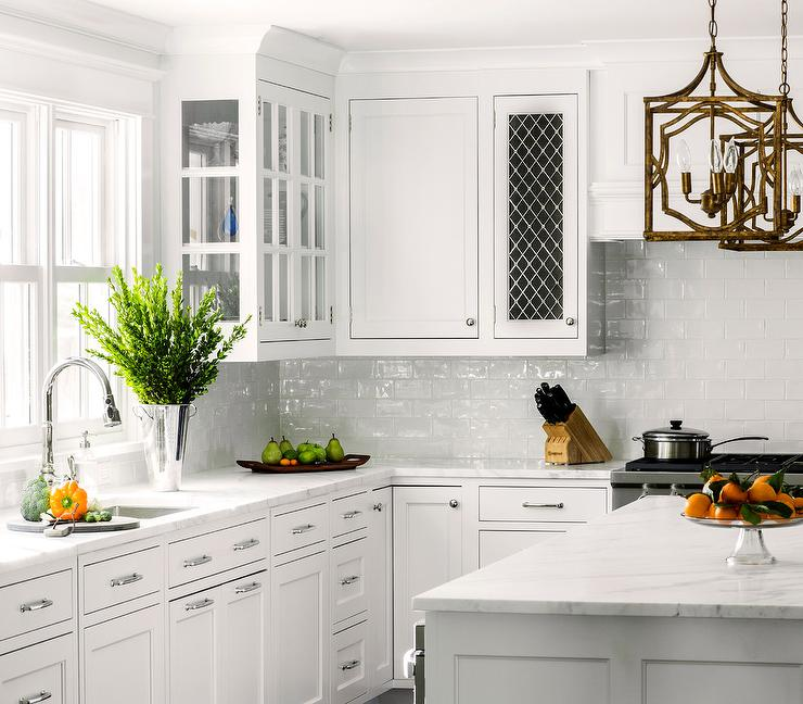 White Kitchen With White Glazed Subway Backsplash Tiles